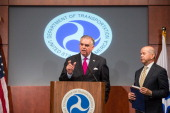 Transportation Secretary Ray LaHood and acting Federal Aviation Administration Administrator Michael Huerta speak at a news conference at the...