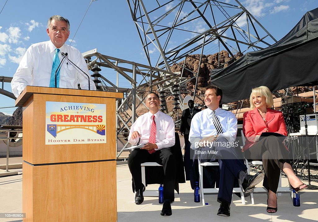 U.S. Transportation Secretary Ray LaHood, Federal Highway Administration Administrator Victor Mendez, Nevada Lt. Gov. Brian Krolicki and Arizona Gov. Jan Brewer attend the dedication of the Mike O'Callaghan-Pat Tillman Memorial Bridge part of the Hoover Dam Bypass Project October 14, 2010 in the Lake Mead National Recreation Area, Nevada. The 1,900-foot-long structure sits 890 feet above the Colorado River, about a quarter of a mile downstream from the Hoover Dam. The USD 240 million project to relieve vehicle traffic on the Hoover Dam began in 2003, and is scheduled to be open to traffic by next week.