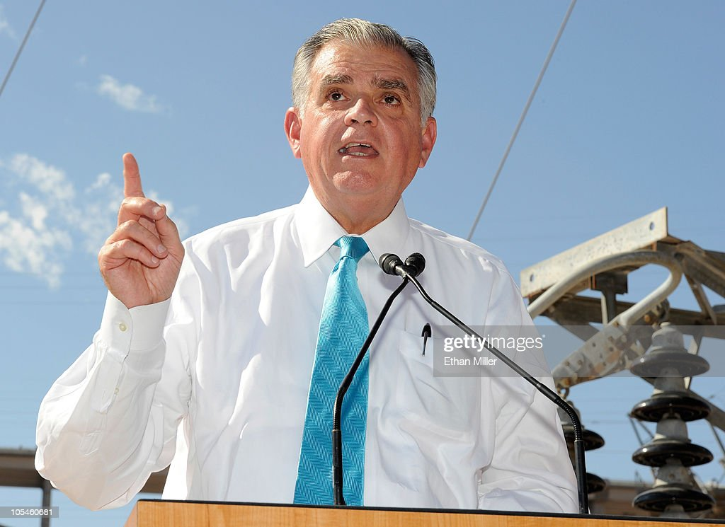 U.S. Transportation Secretary <a gi-track='captionPersonalityLinkClicked' href=/galleries/search?phrase=Ray+LaHood&family=editorial&specificpeople=598728 ng-click='$event.stopPropagation()'>Ray LaHood</a> speaks at the dedication of the Mike O'Callaghan-Pat Tillman Memorial Bridge part of the Hoover Dam Bypass Project October 14, 2010 in the Lake Mead National Recreation Area, Nevada. The 1,900-foot-long structure sits 890 feet above the Colorado River, about a quarter of a mile downstream from the Hoover Dam. The USD 240 million project to relieve vehicle traffic on the Hoover Dam began in 2003, and is scheduled to be open to traffic by next week.