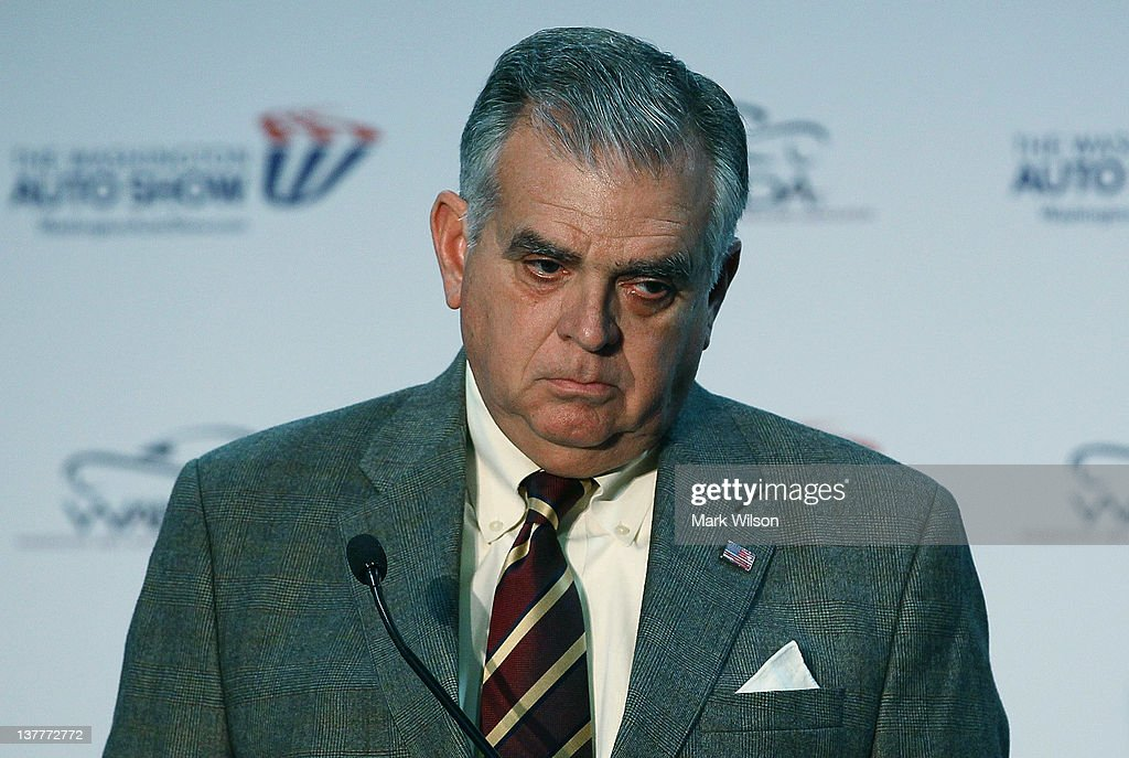 Transportation Secretary <a gi-track='captionPersonalityLinkClicked' href=/galleries/search?phrase=Ray+LaHood&family=editorial&specificpeople=598728 ng-click='$event.stopPropagation()'>Ray LaHood</a> speaks at the Washington Auto Show,on January 26, 2012 in Washington, DC. Secretary Lahood spoke to the media and members of the auto industry before the before the start of the 69th Annual Washington Auto Show. He also briefly spoke about his son Sam LaHood who has been barred from leaving Egypt.