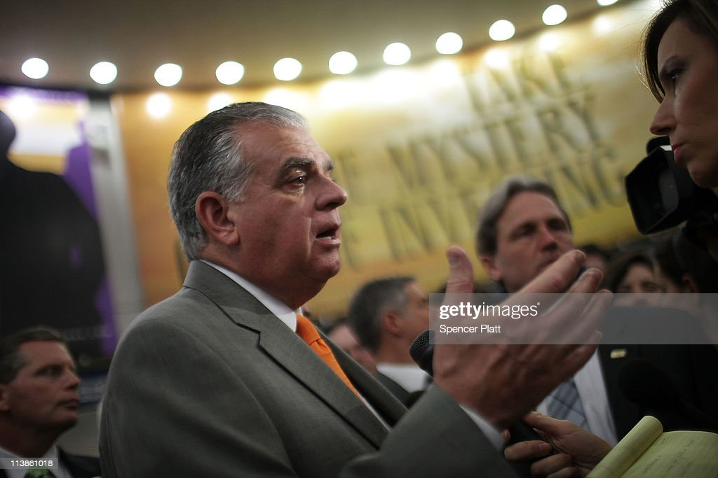 Transportation Secretary <a gi-track='captionPersonalityLinkClicked' href=/galleries/search?phrase=Ray+LaHood&family=editorial&specificpeople=598728 ng-click='$event.stopPropagation()'>Ray LaHood</a> speaks to the media on May 9, 2011 at Penn Station in New York City. Secretary LaHood announced that the U.S. government has awarded $795 million to increase rail speeds between Boston and Washington. This money is the largest share of the more than $2 billion in high-speed rail-grants that the state of Florida rejected in February. Amtrak, which won $450 million, will use the money to increase rider capacity and to improve travel times between Philadelphia and New York.