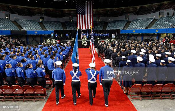 transportation security officer honor guard enters during a public memorial for transportation security administration officer gerardo