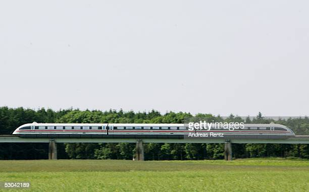 Transrapid magnetic levitation train moves down the track June 9 2005 in Lathen Germany Reports on June 6 said that Britain is considering the German...