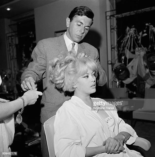 Transsexual Coccinelle At the Hairdresser Before Marrying the Journalist Francis Bonnet in Paris France on March 13 1962