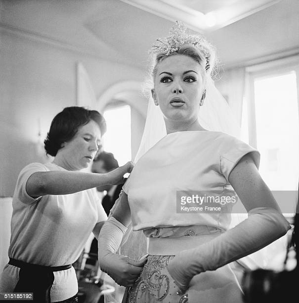 Transsexual Coccinelle Poses In Her Wedding Dress Designed By Jacqueline Godard A Few Days Before the Ceremony in Paris France on March 13 1962