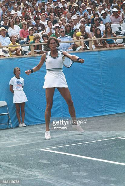 Transsexual Dr Renee Richards returns a serve during action in the $60000 Tennis Week Open here She won the match against Caroline Stoll and advanced...