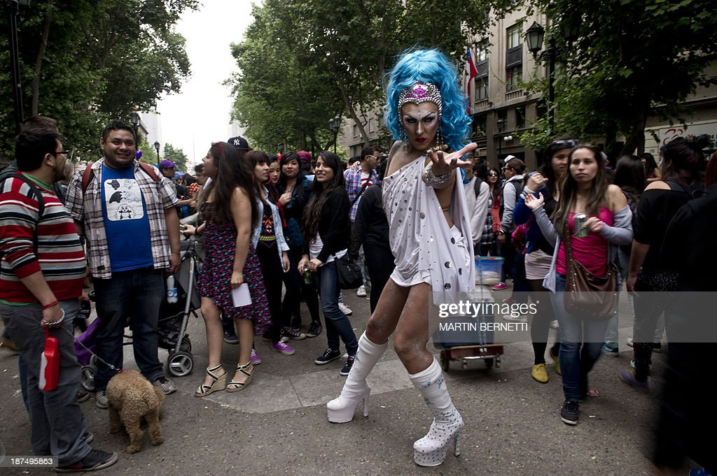 A transvestite poses for a picture in Plaza Bulnes, in Santiago, during the VIII Gay Pride Parade, on November 9, 2013. AFP PHOTO/MARTIN BERNETTI