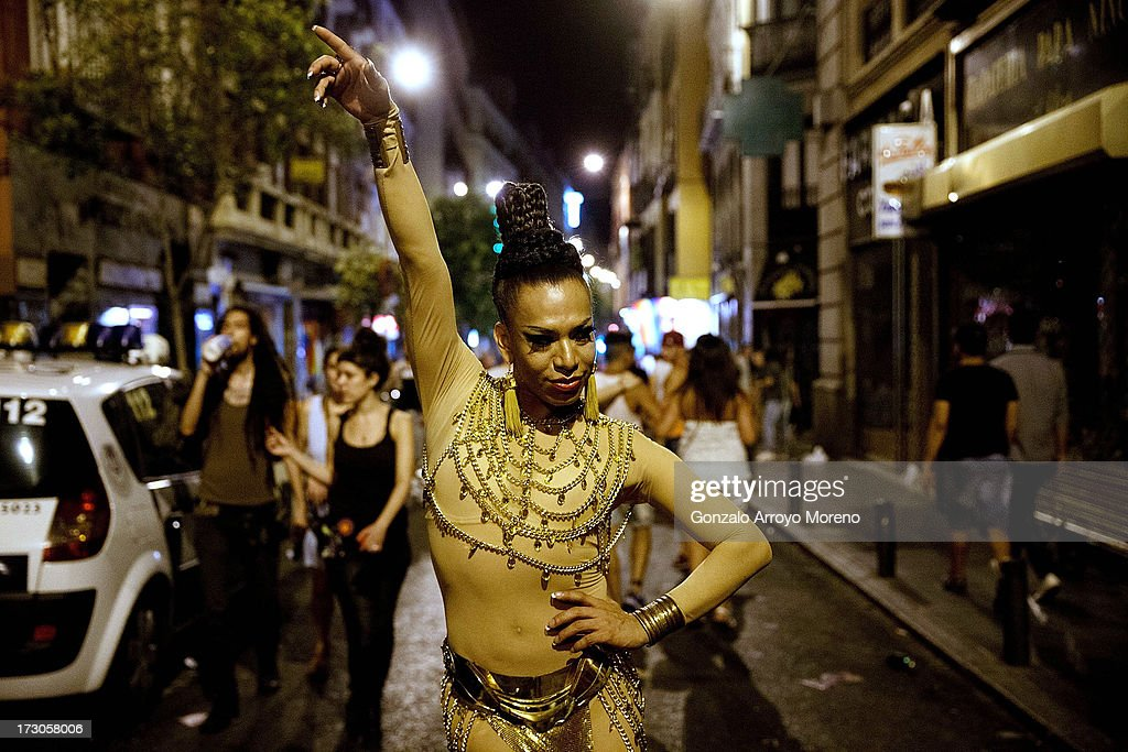 A transvestite walks on Huertas Street in the Chueca neighborhood during the Madrid Gay Pride Festival 2013 on July 5, 2013 in Madrid, Spain. According to a new Pew Research Center survey about homosexual acceptance around the world, Spain tops gay-friendly countries with an 88 percent acceptance rate.