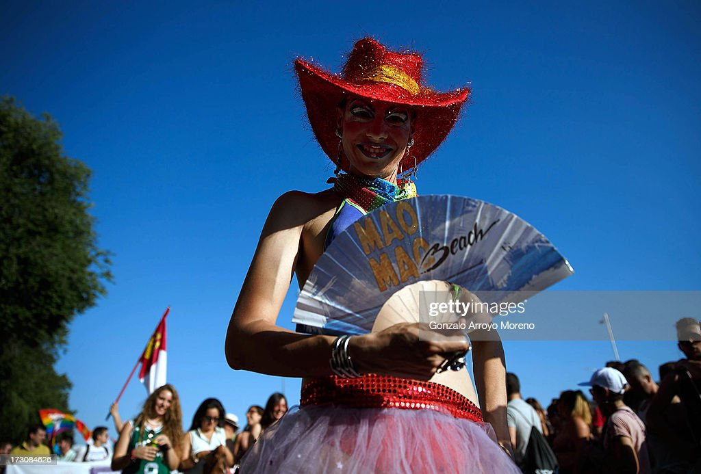 A transvestite wears a hat depicting the Spanish flag during the Madrid Gay Pride Parade 2013 on July 6, 2013 in Madrid, Spain. According to a new Pew Research Center survey about homosexual acceptance around the world, Spain tops gay-friendly countries with an 88 percent acceptance rate.