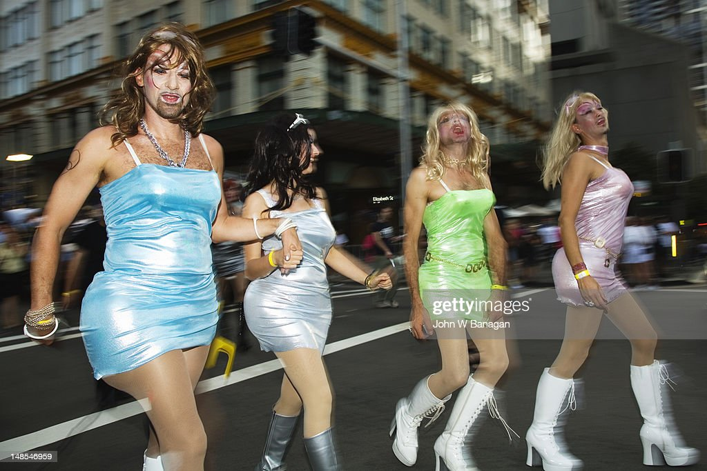 Transvestites, Gay and Lesbian Mardi Gras Parade.