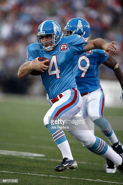 J Trapasso of the Tennessee Titans runs for a touchdown on a fake punt against the Buffalo Bills during the Pro Football Hall of Fame Game at Fawcett...
