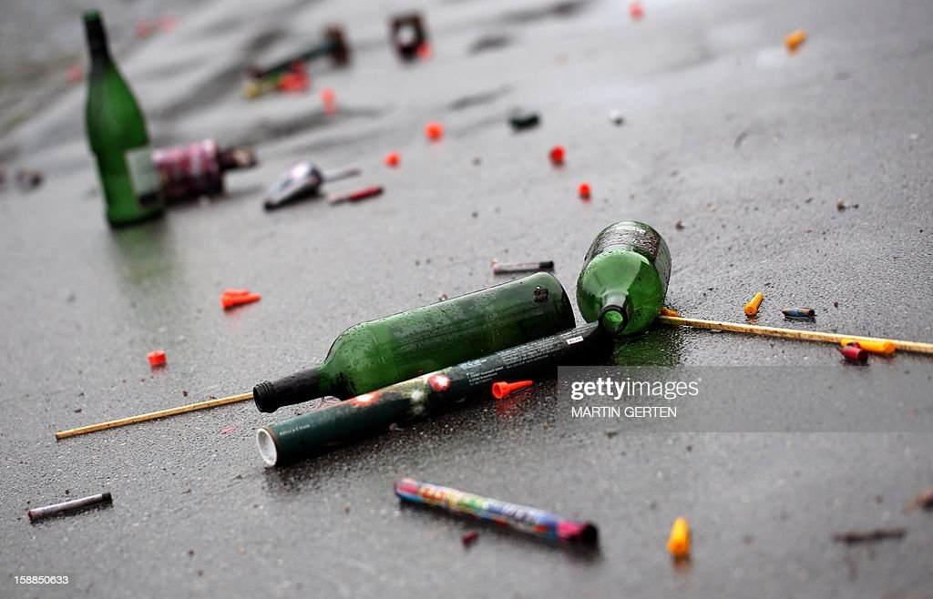 Trash after the New Year's eve night is seen on a street on January 1, 2013 in Duesseldorf, western Germany.