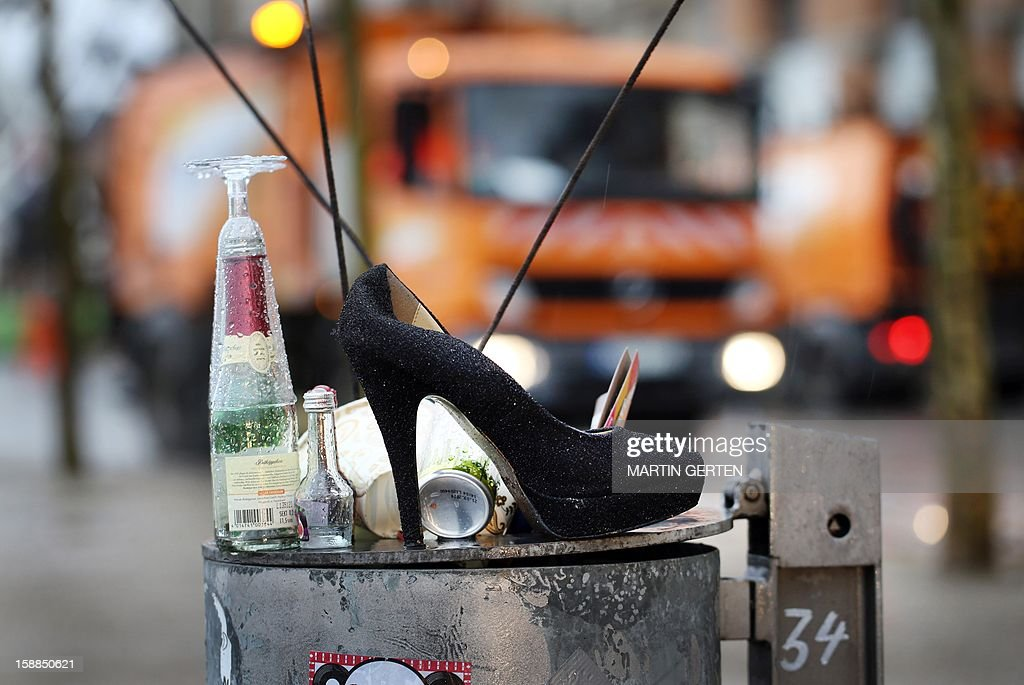 Trash after the New Year's eve night is seen on January 1, 2013 in Duesseldorf, western Germany.