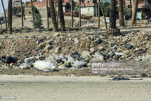 Trash along an Egyptian road