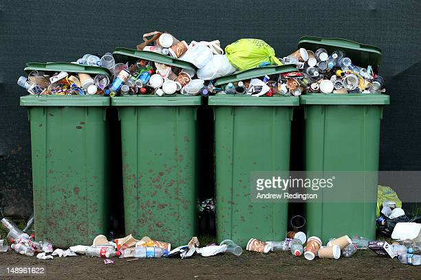 Trash bins are seen during the second round of the 141st Open Championship at Royal Lytham St Annes Golf Club on July 20 2012 in Lytham St Annes...