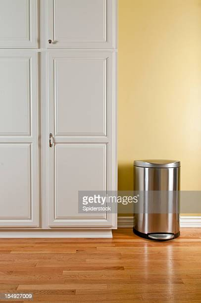 Trash Can and Kitchen Cabinets
