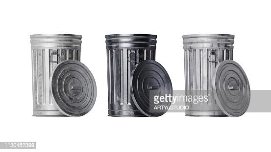 Trash can bin metal, front view : Stock Photo