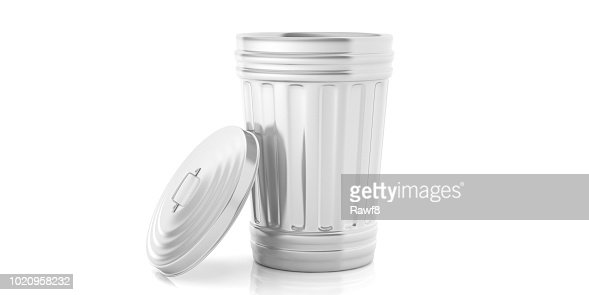 Trash can on white background. 3d illustration : Stock Photo