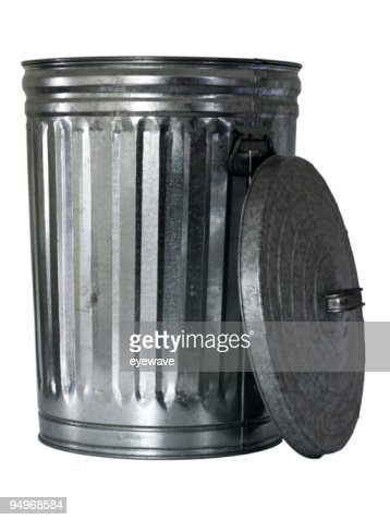 trash can, opened, top at side : Stock Photo