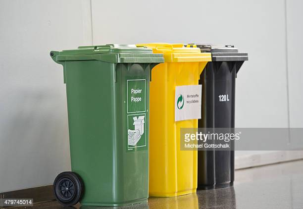 Trash cans for paper cardboard recycled and Restmuell on July 06 2015 in Berlin Germany
