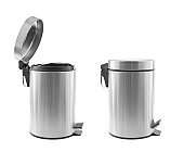 Two metal trash cans, one open, one closed, isolated on white.