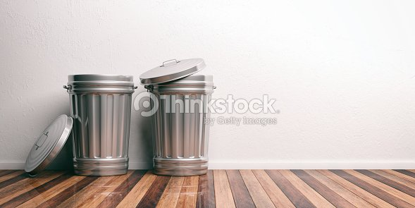 Trash cans on a wooden floor 3d illustration : Stock Photo