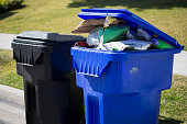 A garbage and a recycling bin wait for pick collection.