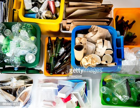 Trash for recycle and reduce ecology environment : Stock Photo