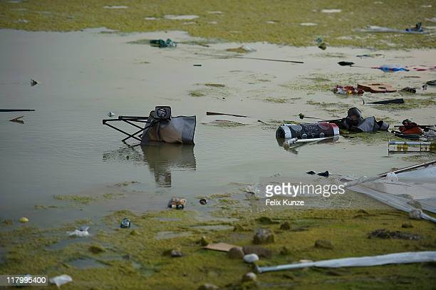 Trash is seen in a general view of the festival site on day three of Roskilde Festival 2011 on July 2 2011 in Roskilde Denmark