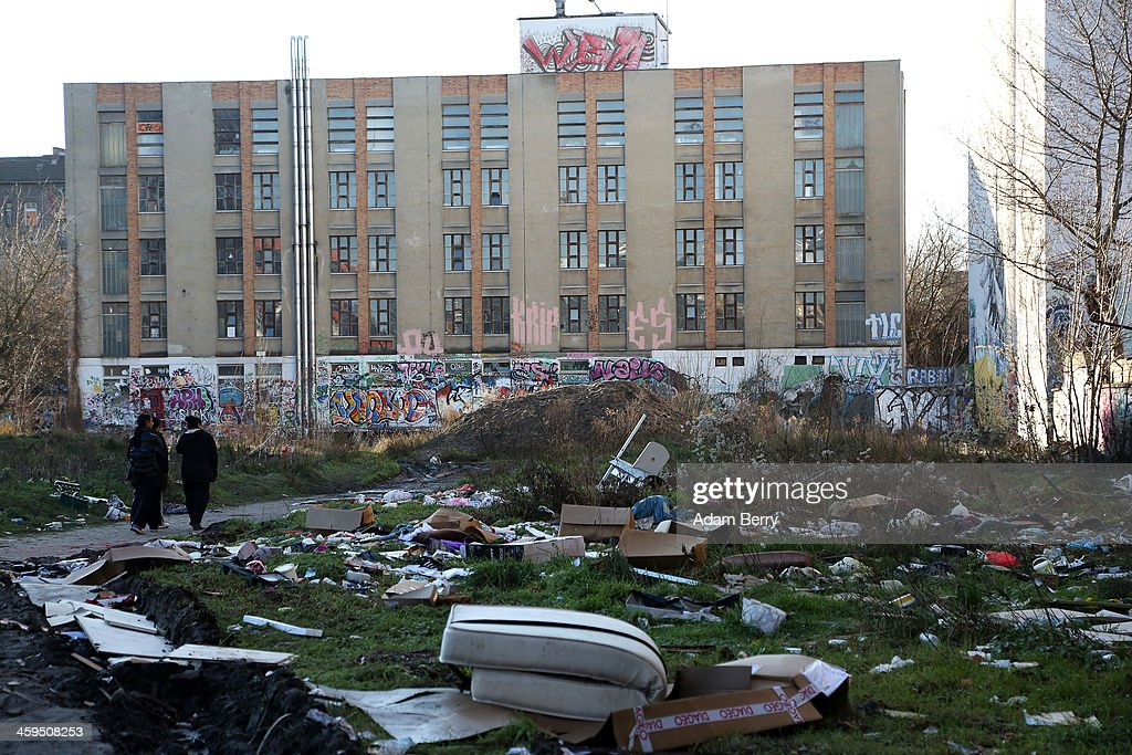 Trash is seen strewn outside the ruins of a former ice factory known locally as the Eisfabrik on December 27, 2013 in Berlin, Germany. The future of several homeless members of the Roma community, mostly from Bulgaria, remains uncertain as officials decide whether to evict those who have taken up residence over the past two years in the decayed structure. Citizens of Romania and Bulgaria, countries which joined the European Union in 2007, will be granted full access to European job markets next year, which some critics fear may bring about 'welfare tourism,' seeing squats such as those in the Eisfabrik as a warning of what will come if the immigration is unregulated.
