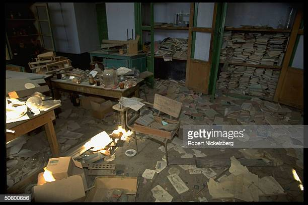 Trashed schooltype chemistry lab torn bks strewn on floor in city under Taliban control radical Islamiccleric led faction threatening secular in...