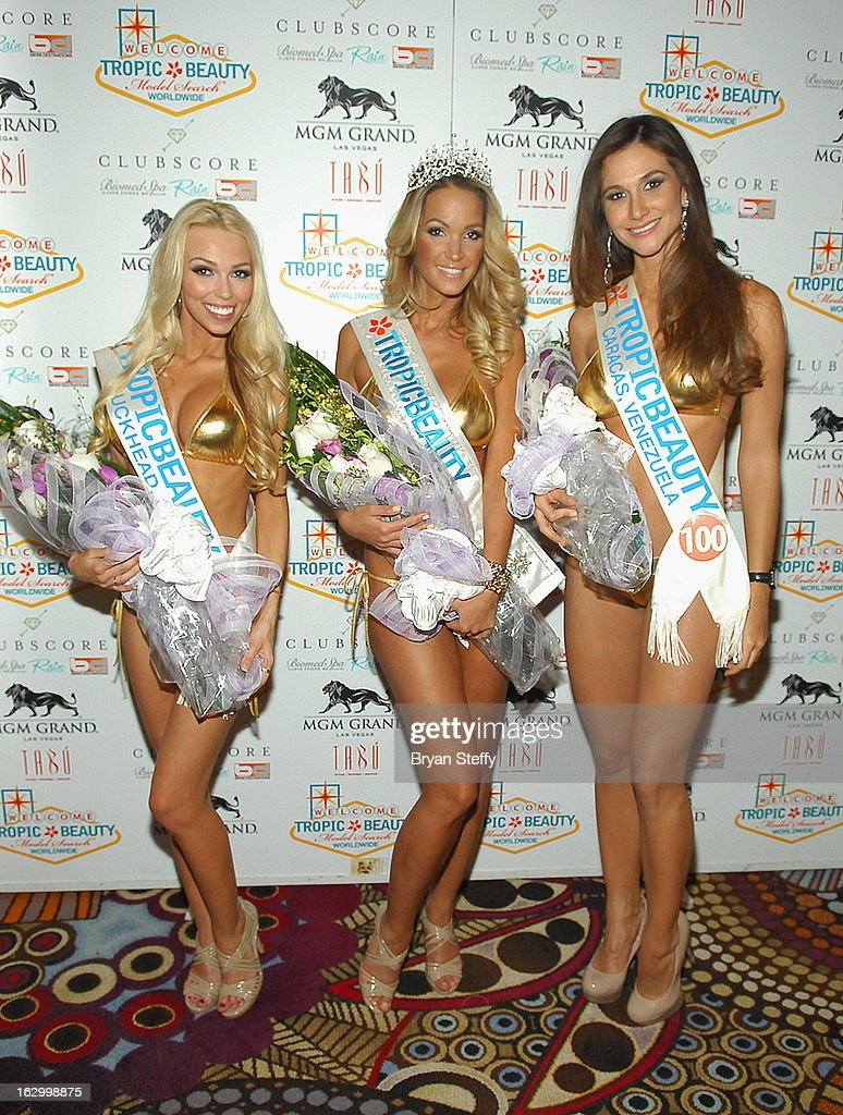 Tra'shell Thompson of Georgia, Miss TropicBeauty 2013 Linda Zimany of Hungary and Maria de Luz Da Silva of Venezuela appear at the third annual TropicBeauty World Finals after party at the Tabu Ultra Lounge at the MGM Grand Hotel/Casino on March 2, 2013 in Las Vegas, Nevada.