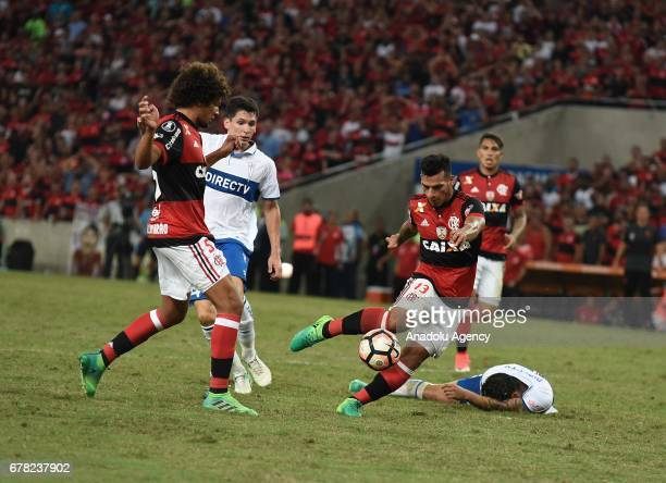 Trauco Flamengo of Flamengo in action during Copa Libertadores of America match between Flamengo and Catholic University in Rio De Jenerio Brazil on...