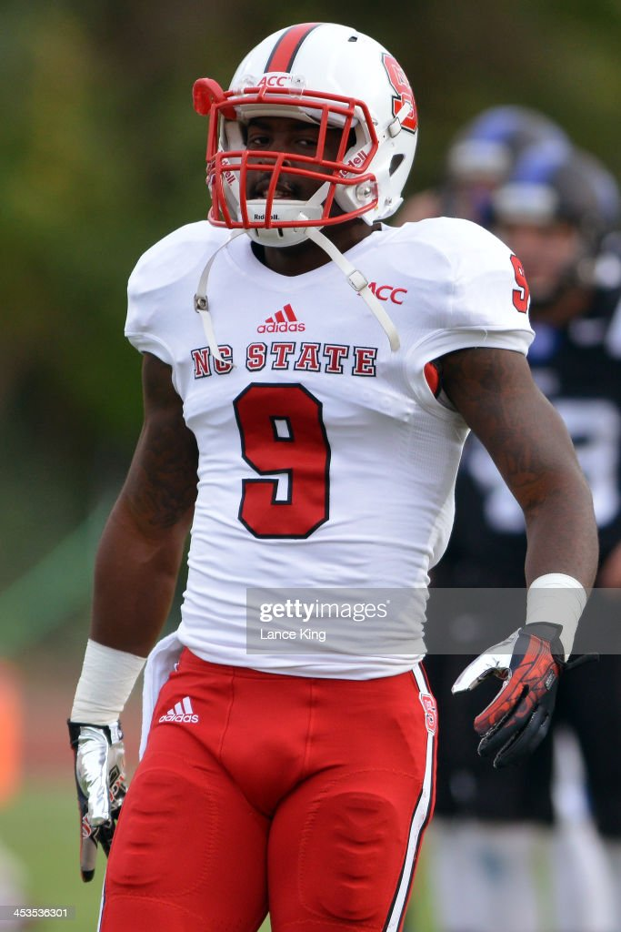 Travares Copeland #9 of the North Carolina State Wolfpack warms up prior to a game against the Duke Blue Devils at Wallace Wade Stadium on November 9, 2013 in Durham, North Carolina. Duke defeated NC State 38-20.