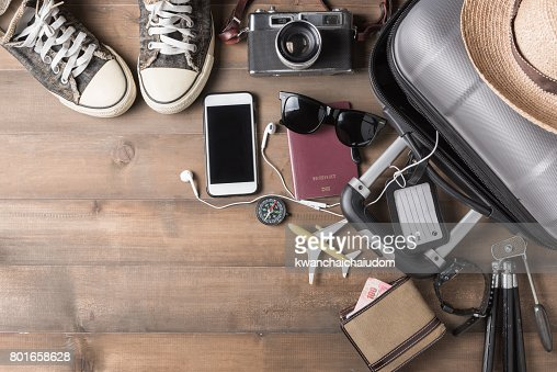 Travel accessories costumes. Passports, luggage : Stock Photo