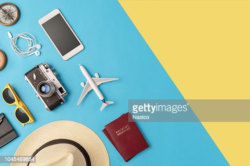 Travel accessories flat lay with copy space : Stock Photo