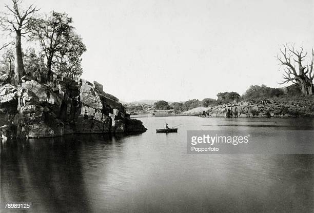 circa 1930's A fisherman on the Sedit River