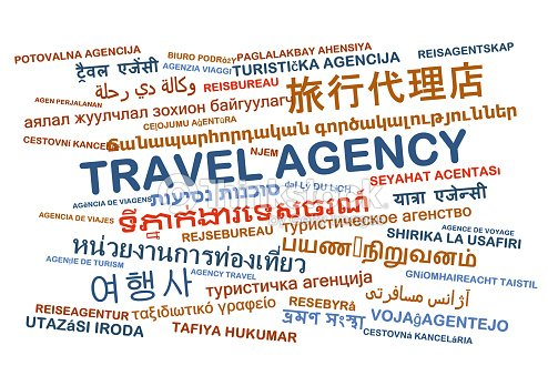 Travel Agency Multilanguage Wordcloud Background Concept Stock Photo