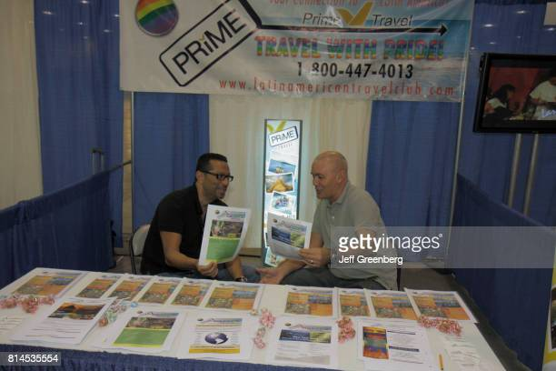 A travel agency vendor at the Chamber of Commerce Gay and Lesbian Expo