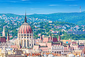 Travel and european tourism concept. Parliament and buda side panorama of Budapest in Hungary during summer sunny day with blue sky and clouds. View from Saint Istvan's basil