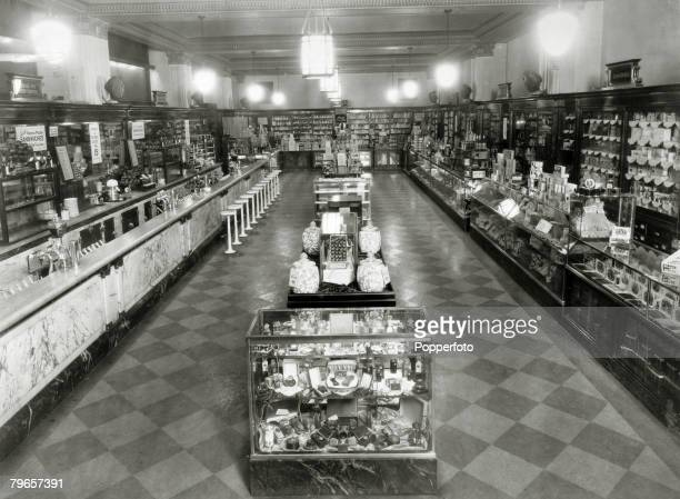 circa 1920's USA New York An interior view inside Liggett's Drug Store which is on the corner of 42nd Street and Madison Avenue The picture shows the...