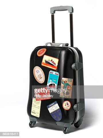 Travel Case Stickers On Suitcase Stock Photo Getty Images