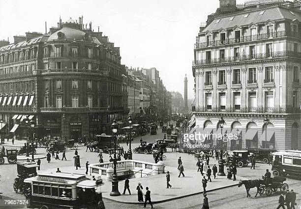 circa 1920 A street scene in Paris showing the Rue De La Paix viewed from the Place De L'Opera