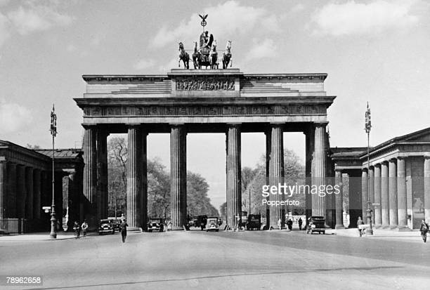 1930's The famous landmark of Berlin the Brandenburg Gate pictured as it was before World War Two