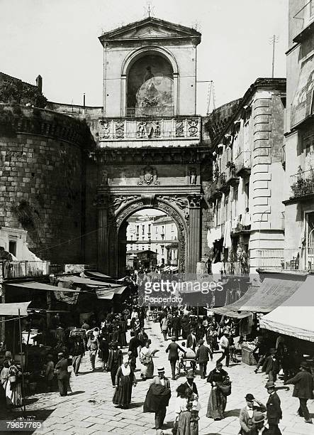 Travel Cities Italy Naples pic circa 1900 The Porta Capuana and busy street scene
