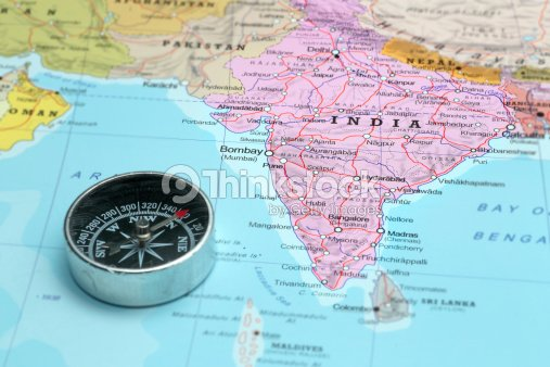 travel destination india map with compass stock photo