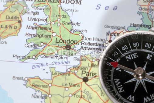 travel destination london united kingdom map with compass stock photo