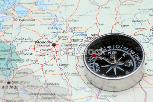 Travel Destination Moscow Russia Map With Compass Stock Photo ...