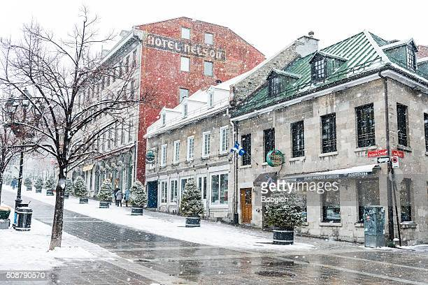 Travel Destination Old Montreal Canada Buildings with Snow in Winter