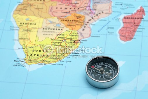 travel destination south africa map with compass stock photo